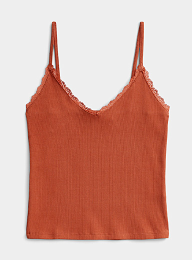 Twik Medium Brown Lace-trim cami for women
