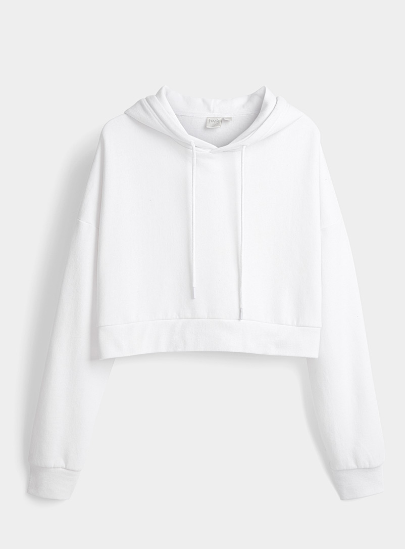 Twik White Ultra cropped hoodie for women