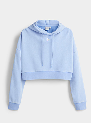 Twik Patterned Blue Mini embroidery ultra cropped hoodie for women
