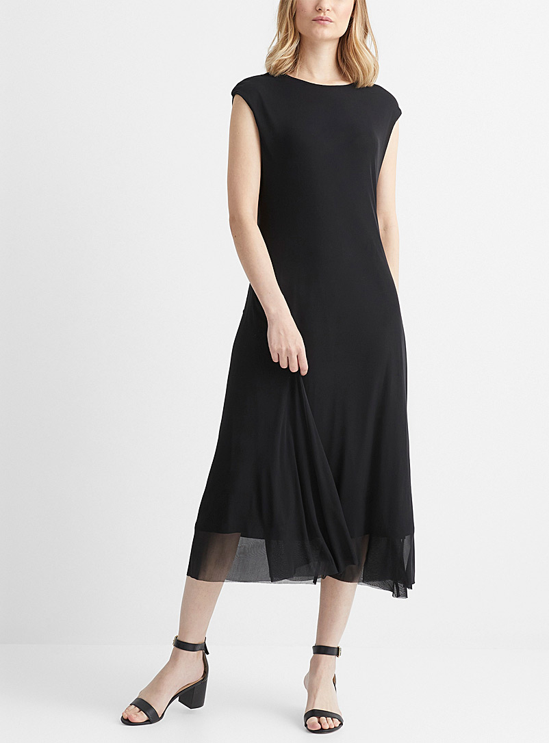 Contemporaine: La robe microfilet midi à mancherons Oxford pour femme