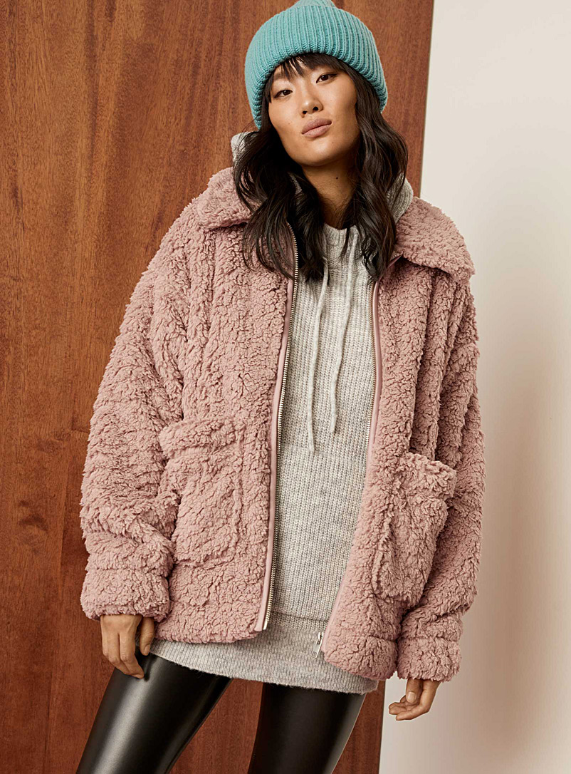 Twik Mauve Soft plush jacket for women