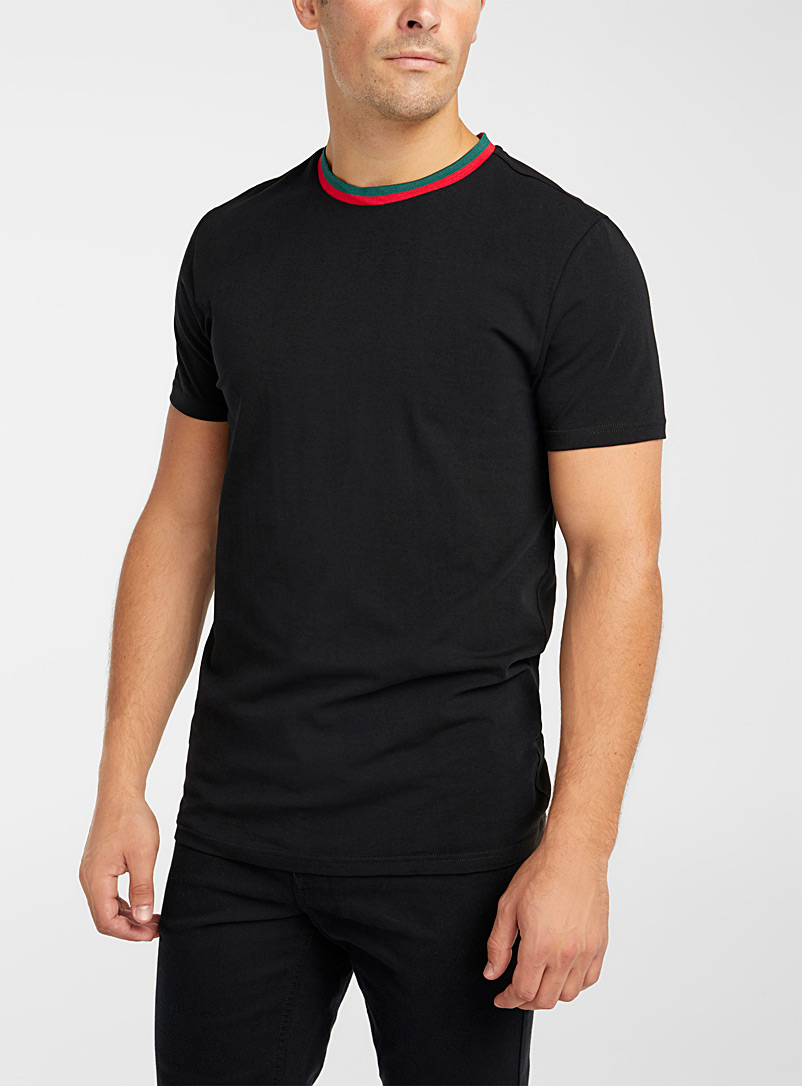 Le 31 Black Striped ribbed collar T-shirt for men