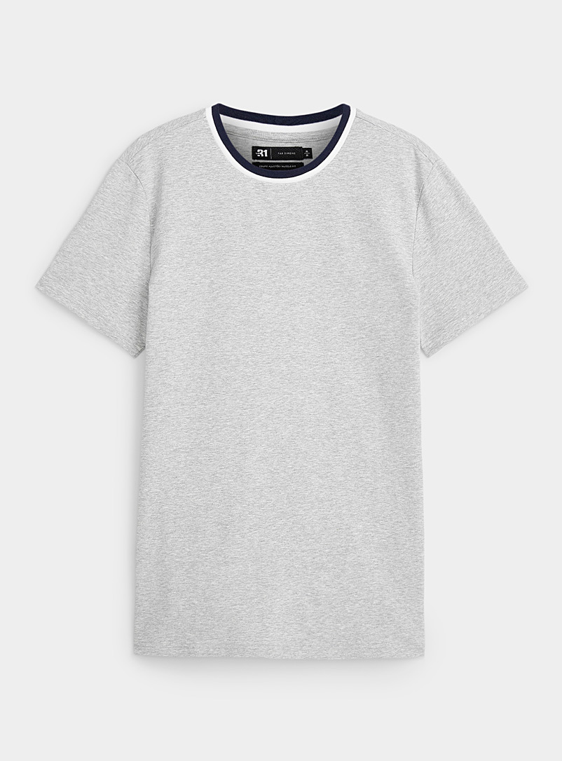 Le 31 Light Grey Striped ribbed collar T-shirt for men