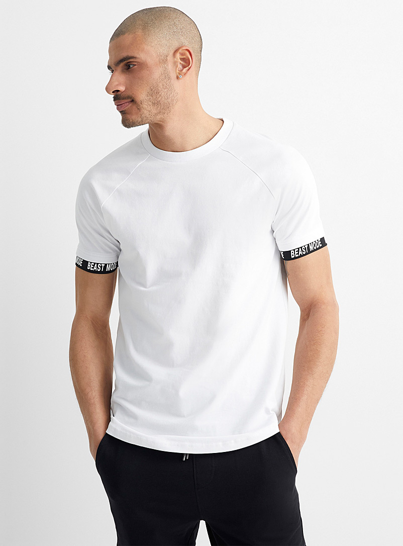 Le 31 White Message sleeve T-shirt for men