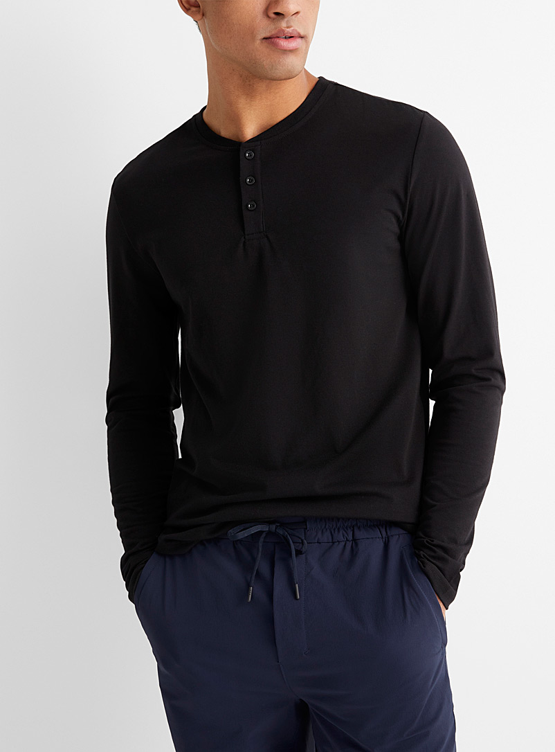 Le 31 Black Buttoned crew neck T-shirt for men