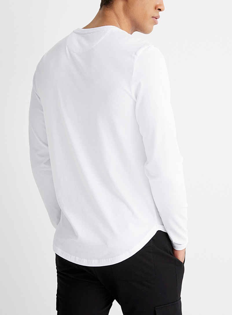 Le 31 White Buttoned crew neck T-shirt for men