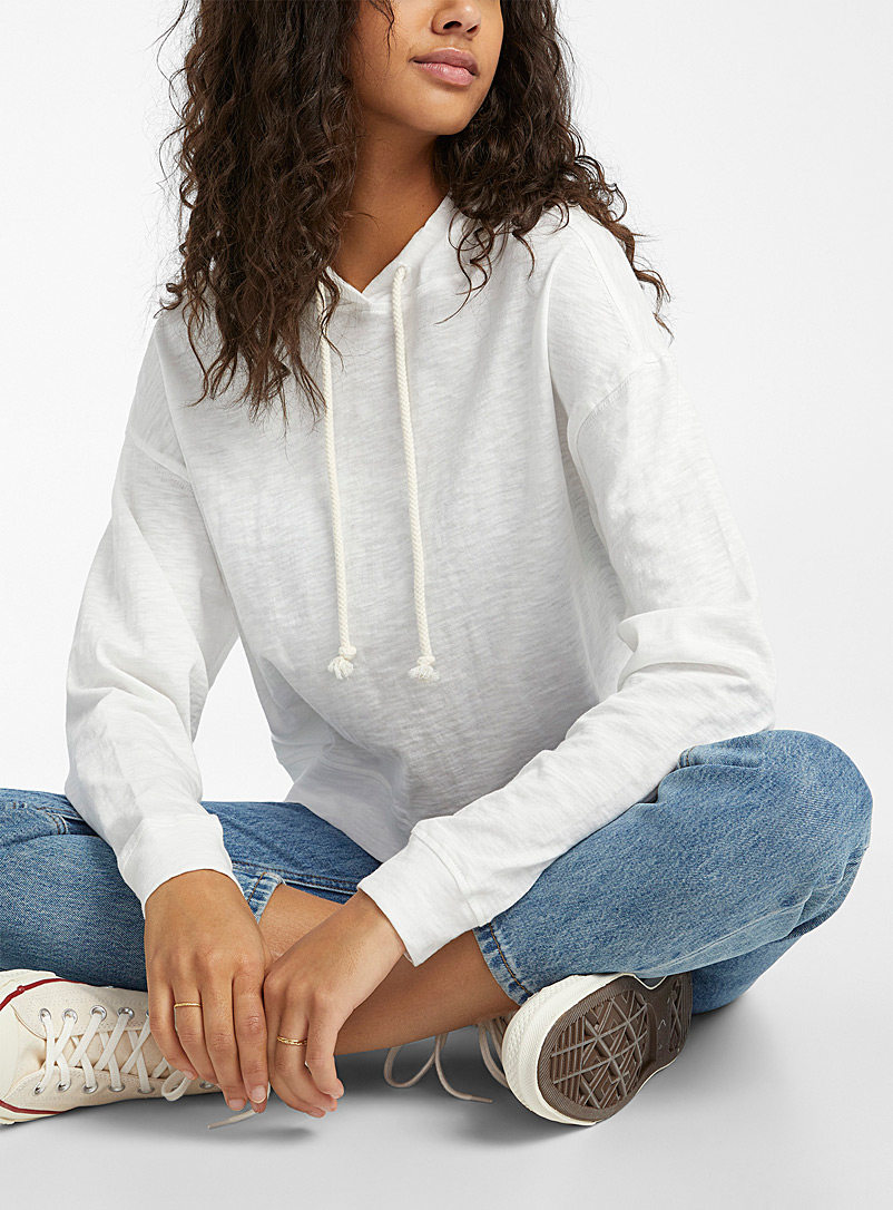 Twik Ivory White Ultra cropped heathered hooded sweatshirt for women
