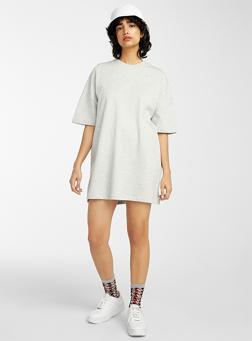 Twik Grey Straight loose sweatshirt dress for women