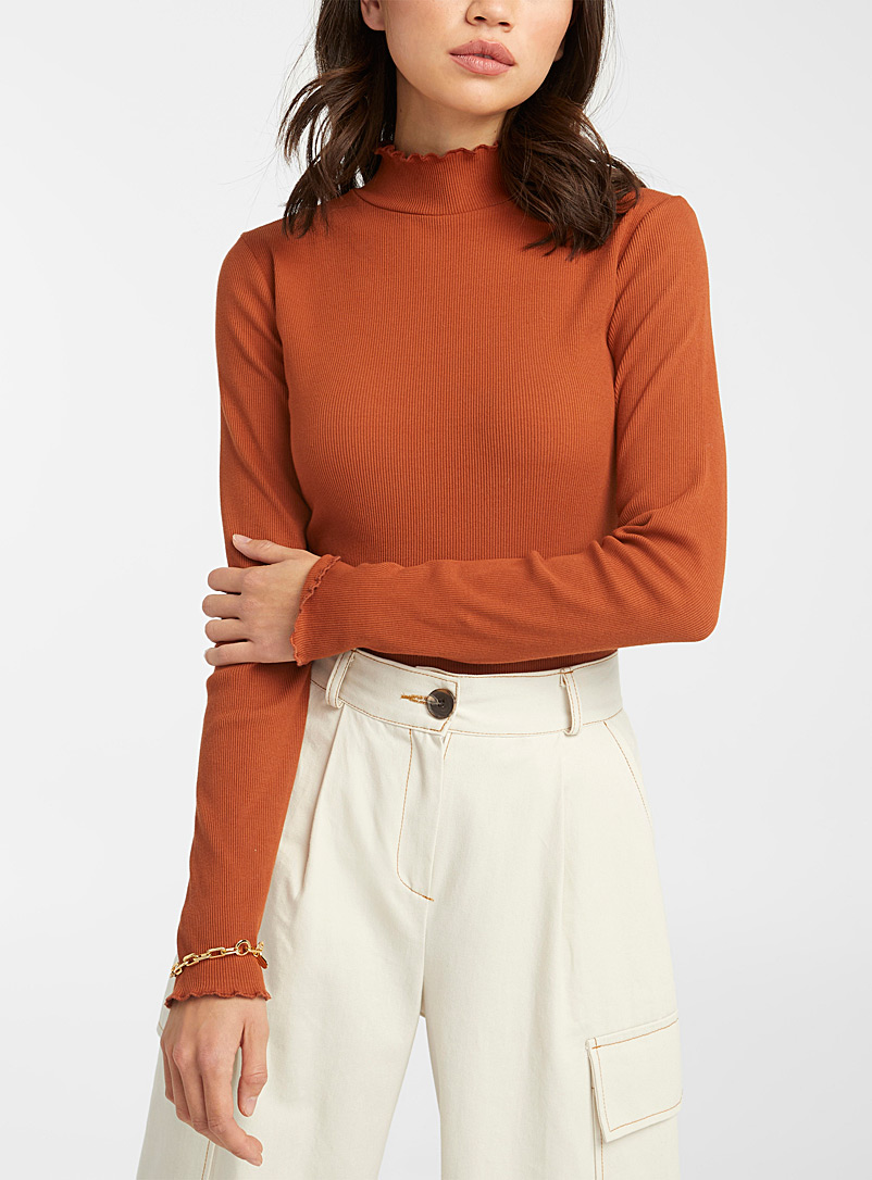 Frill trim mock neck