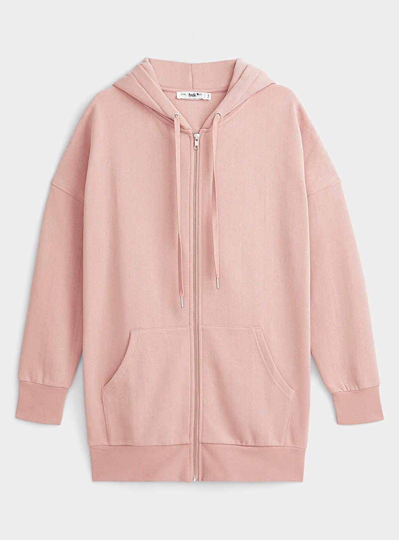 Twik Pink Organic cotton zip hoodie for women