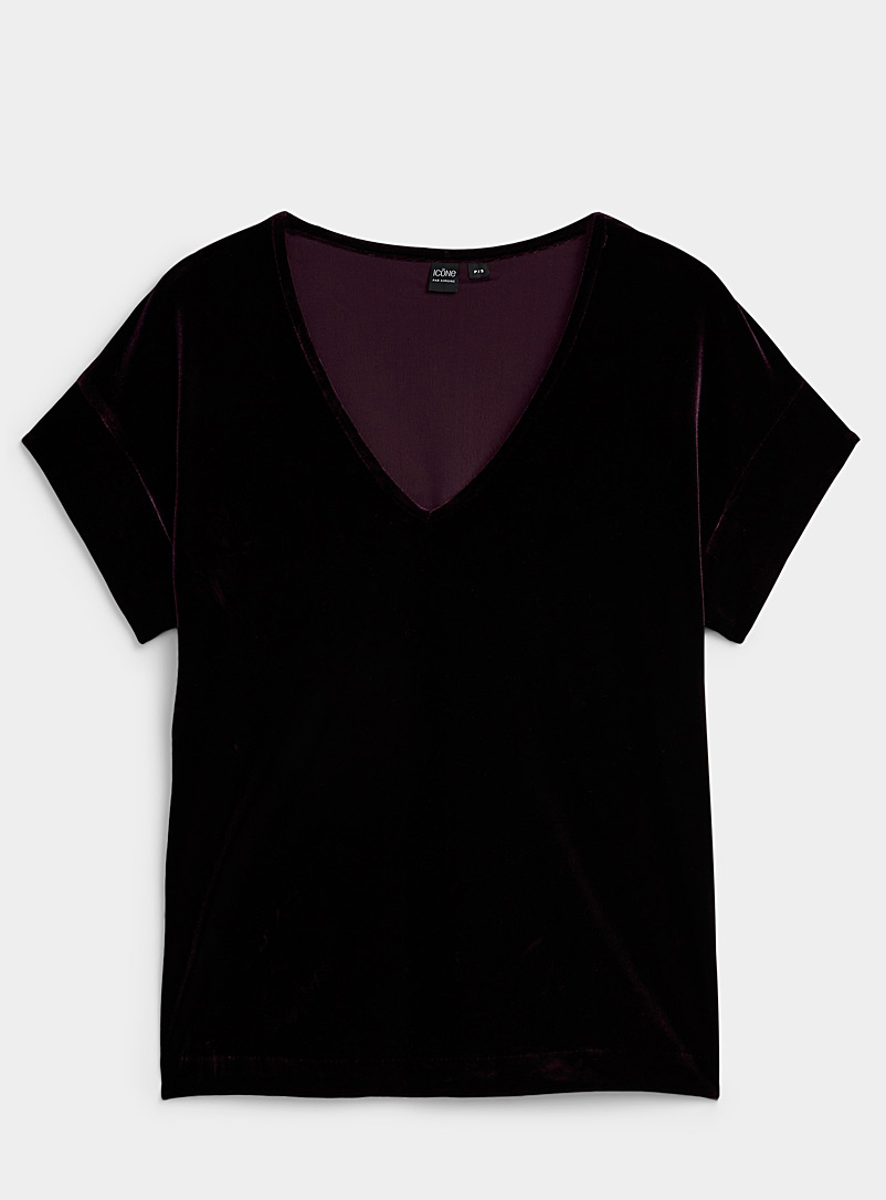 Ic?ne Crimson Precious velvet V-neck blouse for women