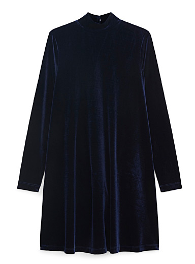 Icône Marine Blue Velvet mock-neck short dress for women