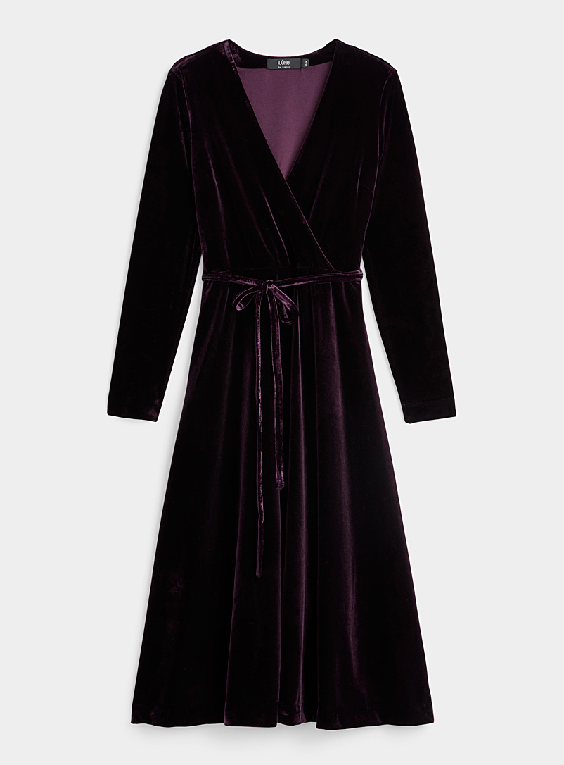 Icône Crimson Stretch velvet wrap dress for women
