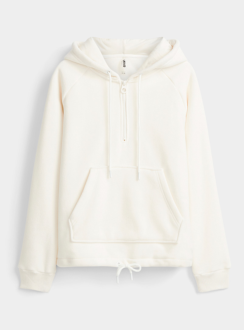 Recycled polar fleece zip-collar sweatshirt
