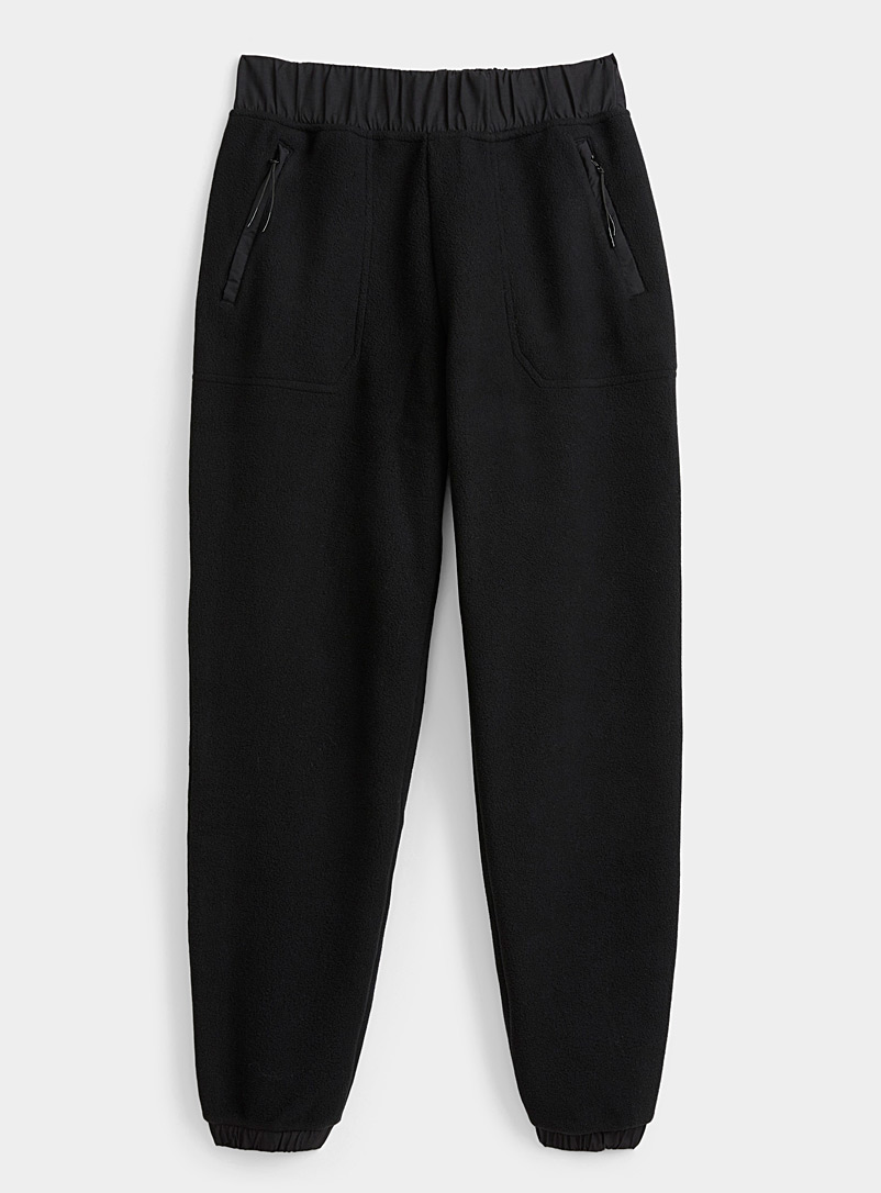 I.FIV5 Black Recycled polar fleece joggers for women