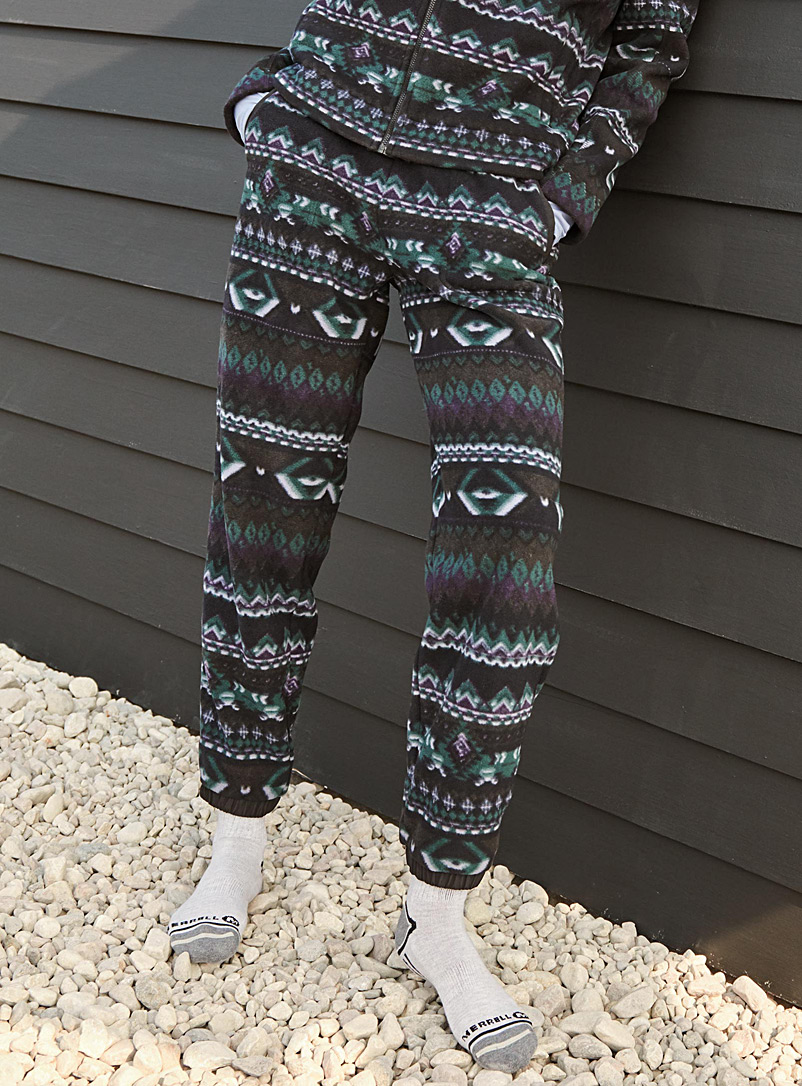 I.FIV5 Patterned Crimson Recycled polar fleece joggers for women