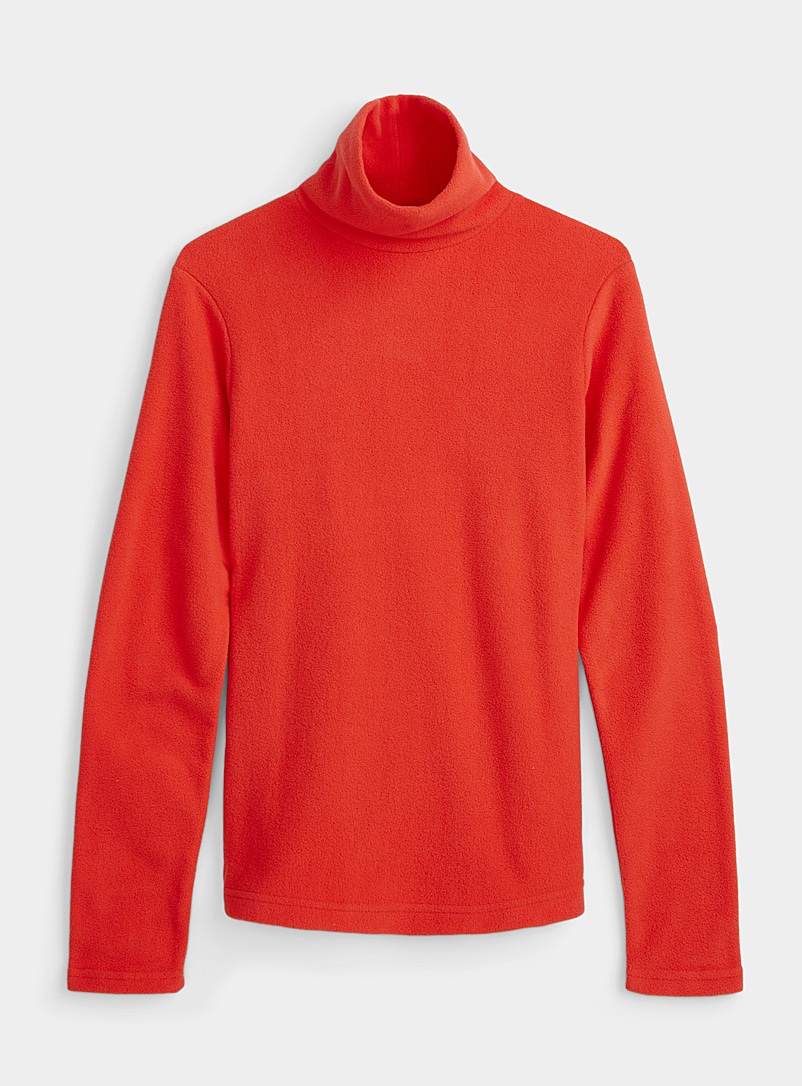 I.FIV5 Red Recycled fleece mock neck for women