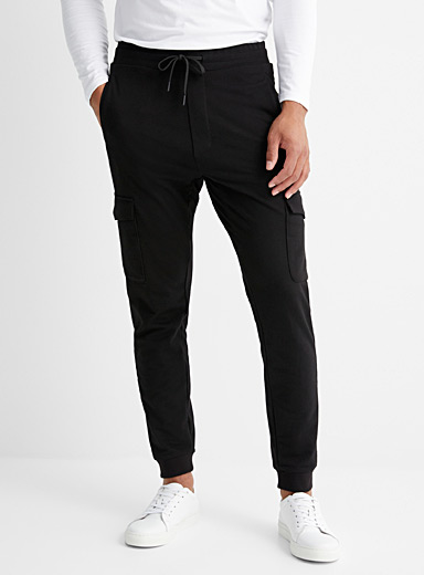 Le 31 Black Structured jersey cargo joggers for men