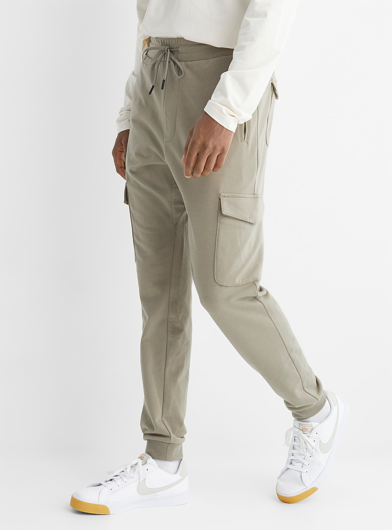 Le 31 Mossy Green Structured jersey cargo joggers for men