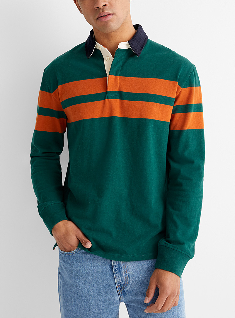 Le 31 Green Corduroy-collar rugby polo for men