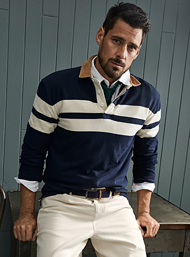 Le 31 Marine Blue Corduroy-collar rugby polo for men