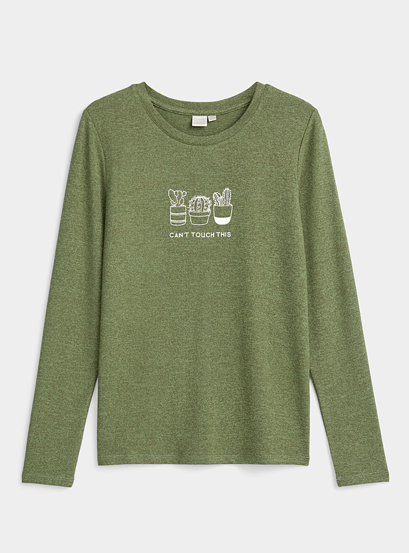 Twik Green Accent print heathered tee for women