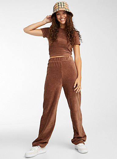 Twik Light Brown Corduroy wide-leg pant for women