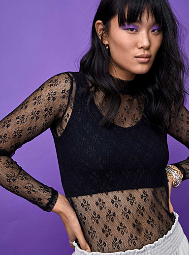 Twik Black Floral lace mock-neck tee for women