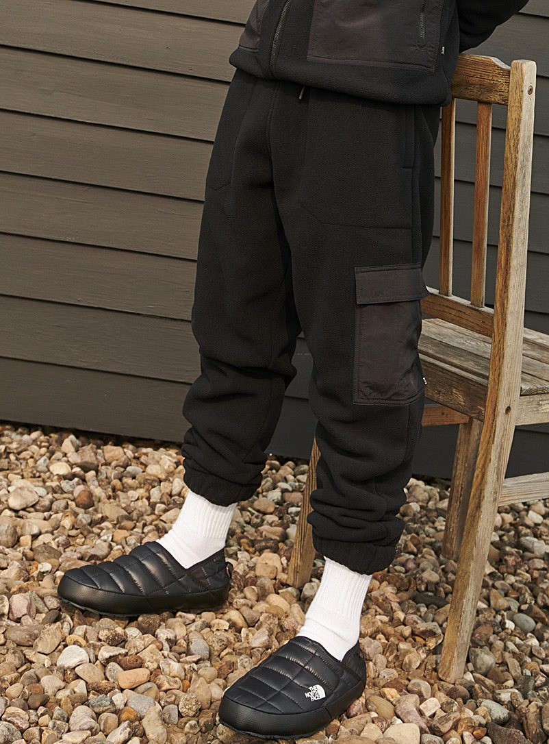 I.FIV5 Black Utility polar fleece joggers for men