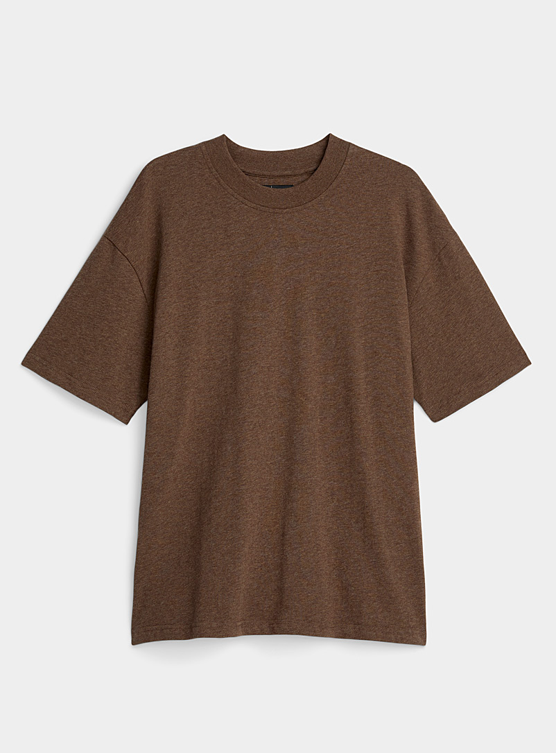 Le 31 Brown Organic cotton boxy T-shirt for men