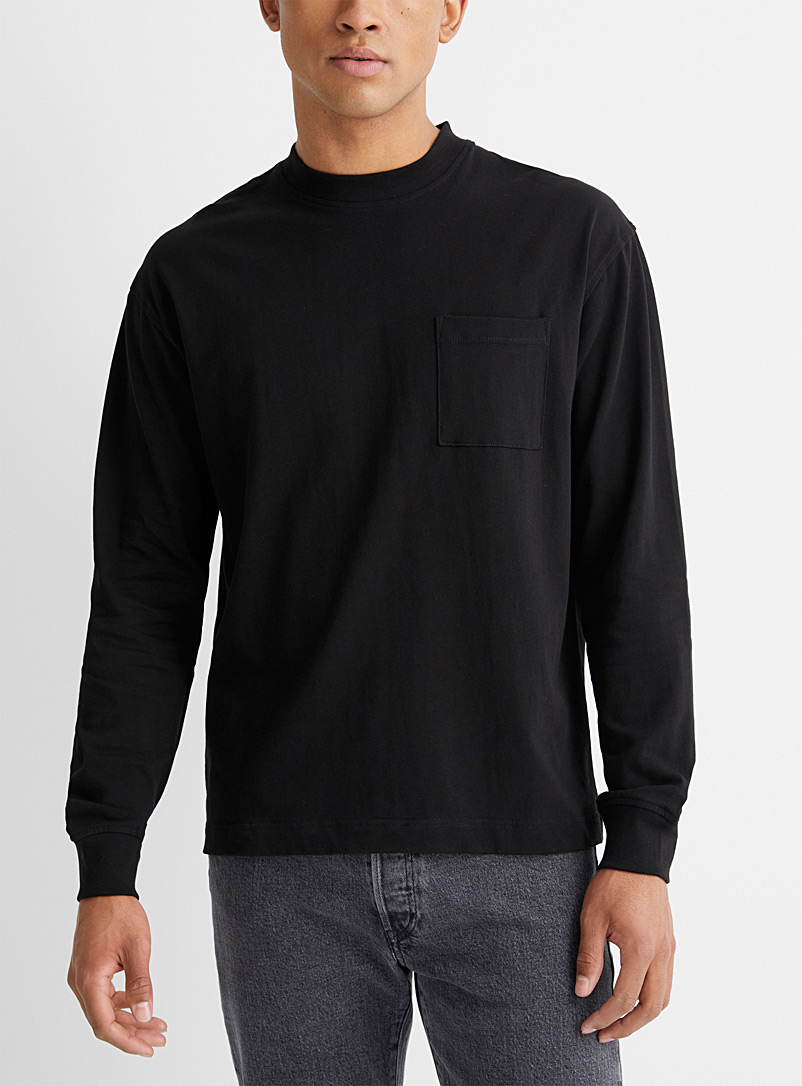 Le 31 Black Organic cotton long-sleeve loose T-shirt for men