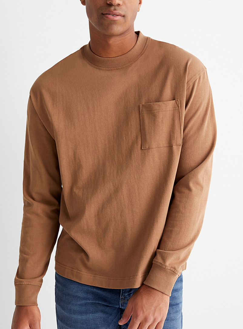 Le 31 Light Brown Organic cotton long-sleeve loose T-shirt for men