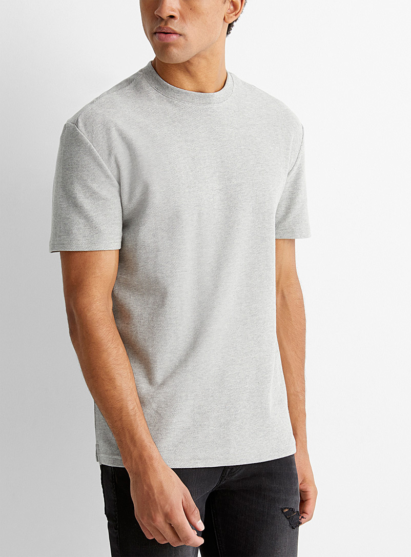 Le 31 Grey Textured T-shirt for men