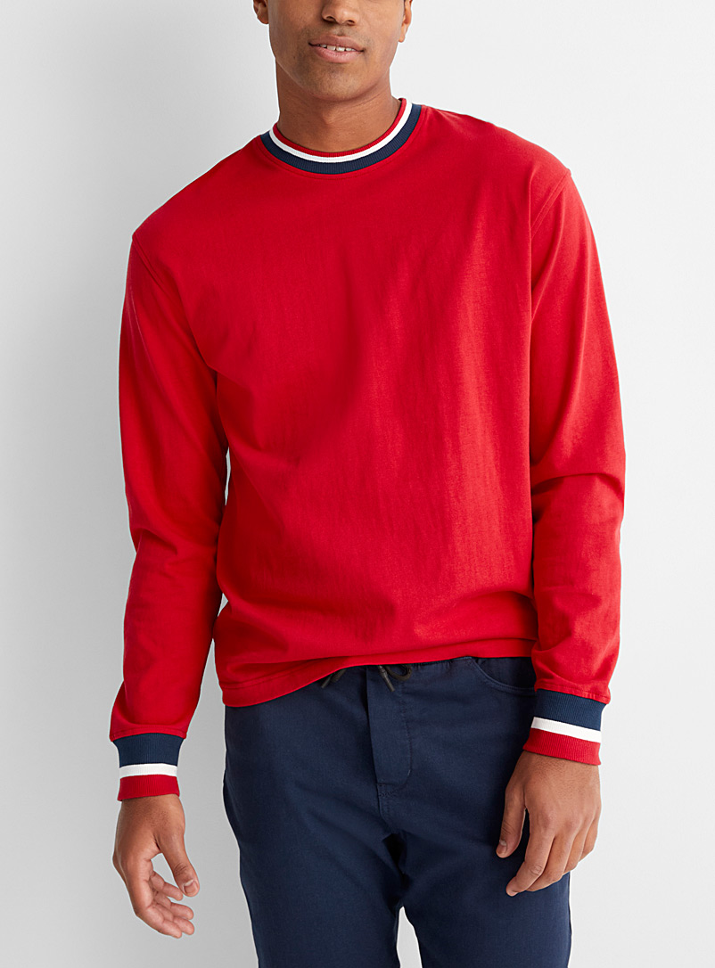 Le 31 Red Striped-hem sweatshirt for men