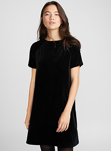 Silky velvet T-shirt dress