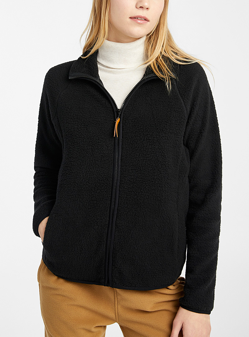 Twik Black Eco-friendly polar fleece jacket for women