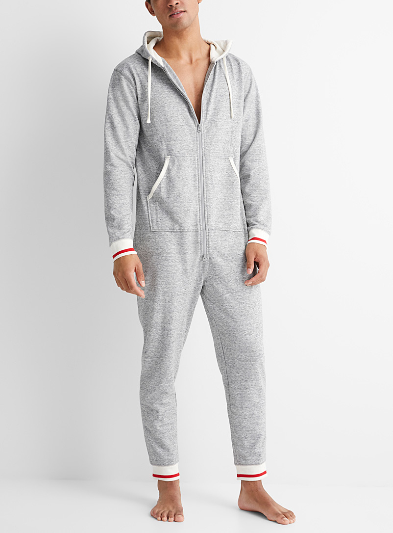 Le 31 Patterned Grey Rustic sweat lounge jumpsuit for men