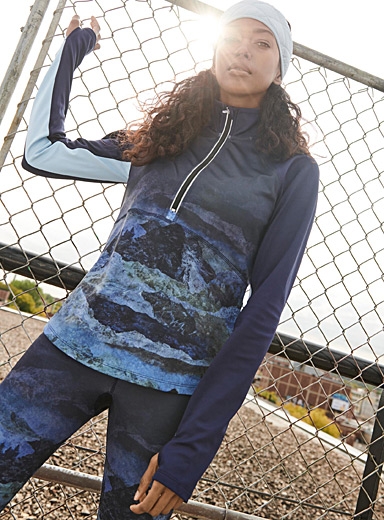 I.FIV5 Patterned Blue Thermal microfibre half-zip for women
