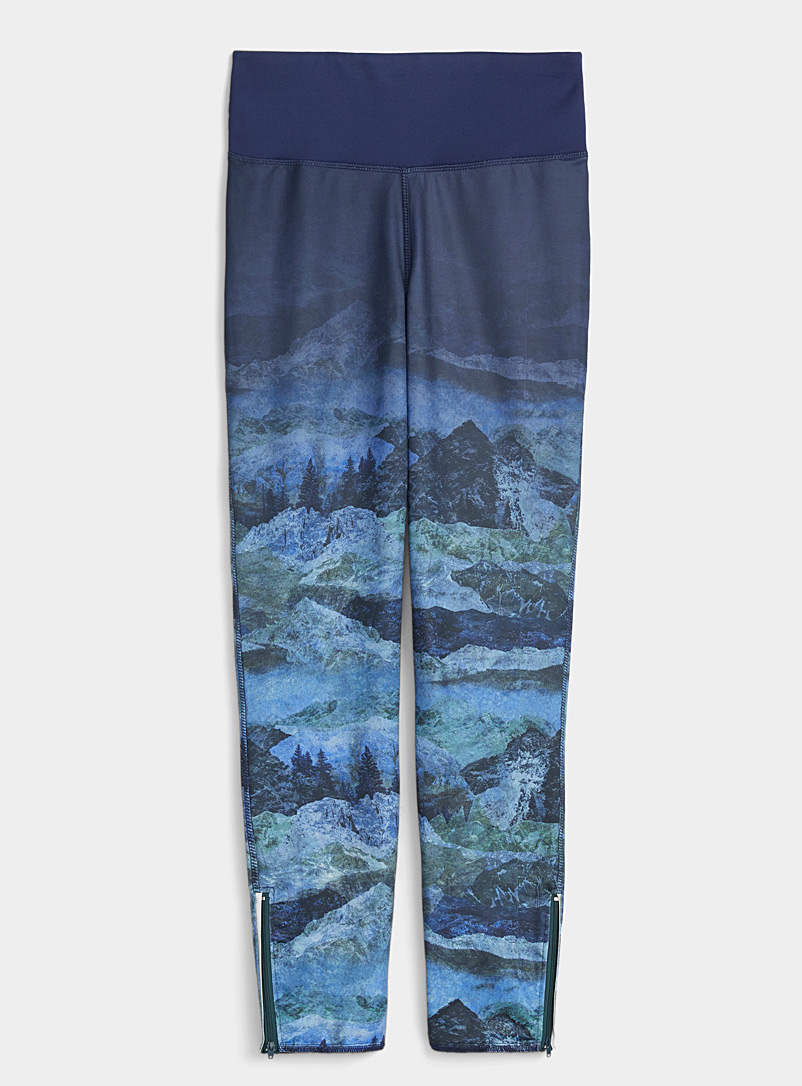 I.FIV5 Patterned Blue Eco-friendly thermal microfibre legging for women