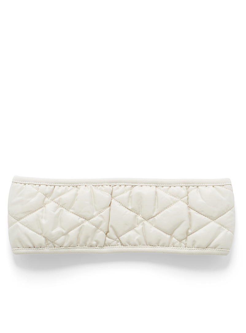 I.FIV5 Ivory White Quilted headband for women