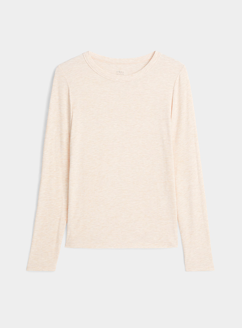 Miiyu x Twik Cream Beige Mini-rib lounge T-shirt for women