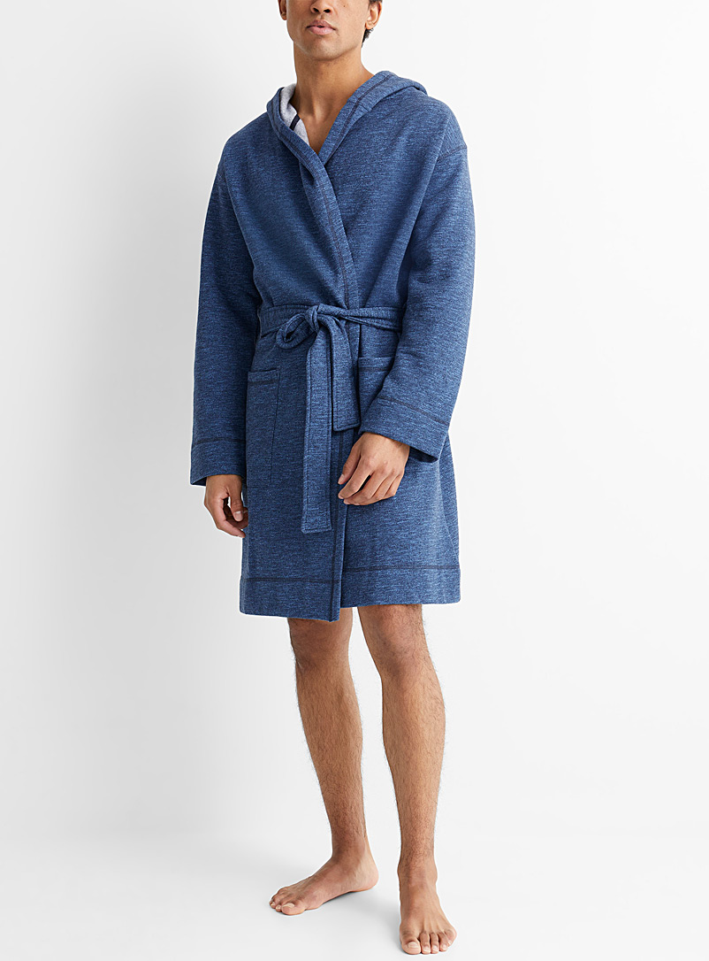 Le 31 Patterned Blue Hooded heathered sweatshirt bathrobe for men