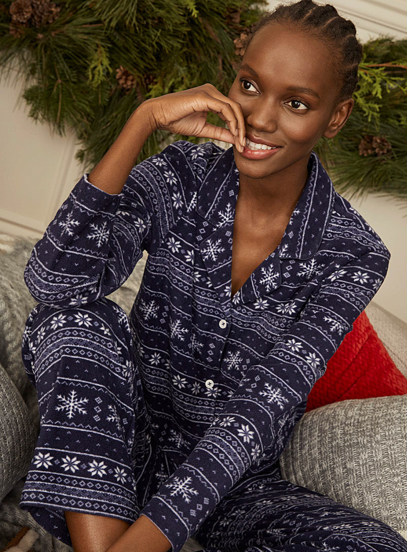 Miiyu Patterned Blue Wintry recycled polyester pyjama set for women