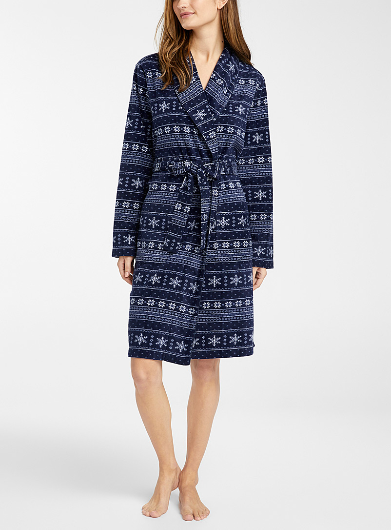 Recycled polyester wintry fleece robe