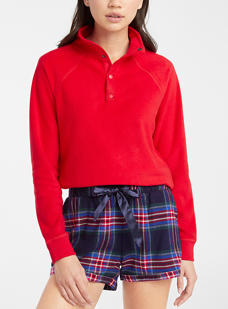 Miiyu x Twik Red Polar fleece mock-neck sweatshirt for women