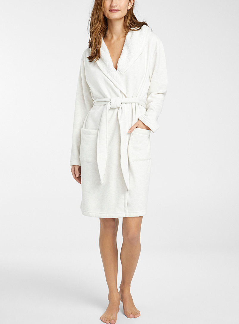Hooded plush-lined robe