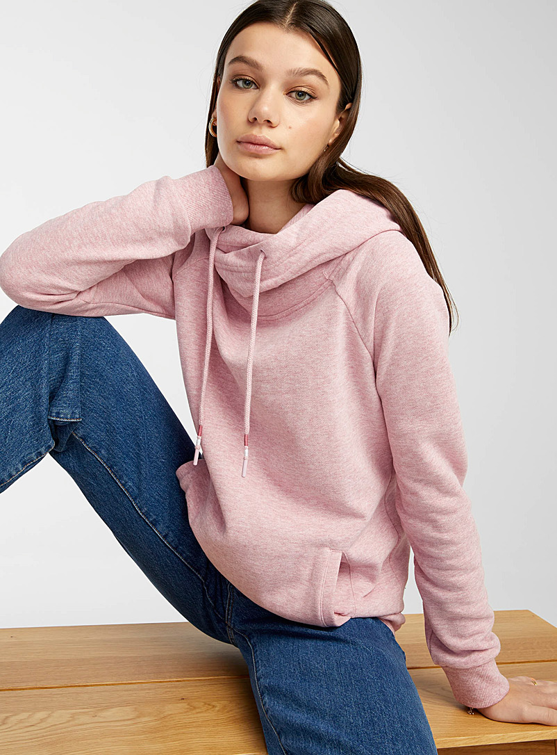 Twik Pink Organic cotton crossover hooded sweatshirt for women