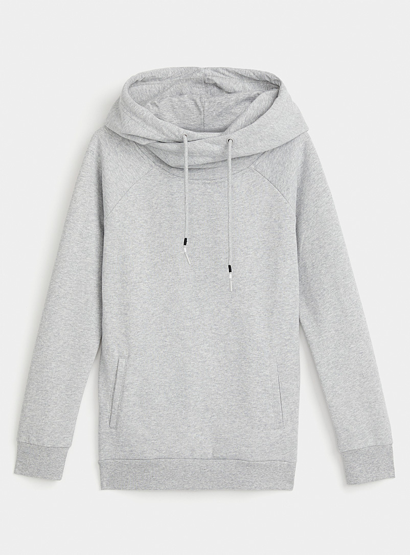 Organic cotton crossover hooded sweatshirt