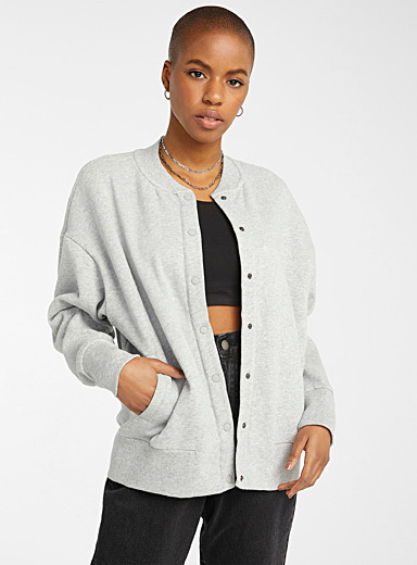 Loose organic cotton sweatshirt jacket