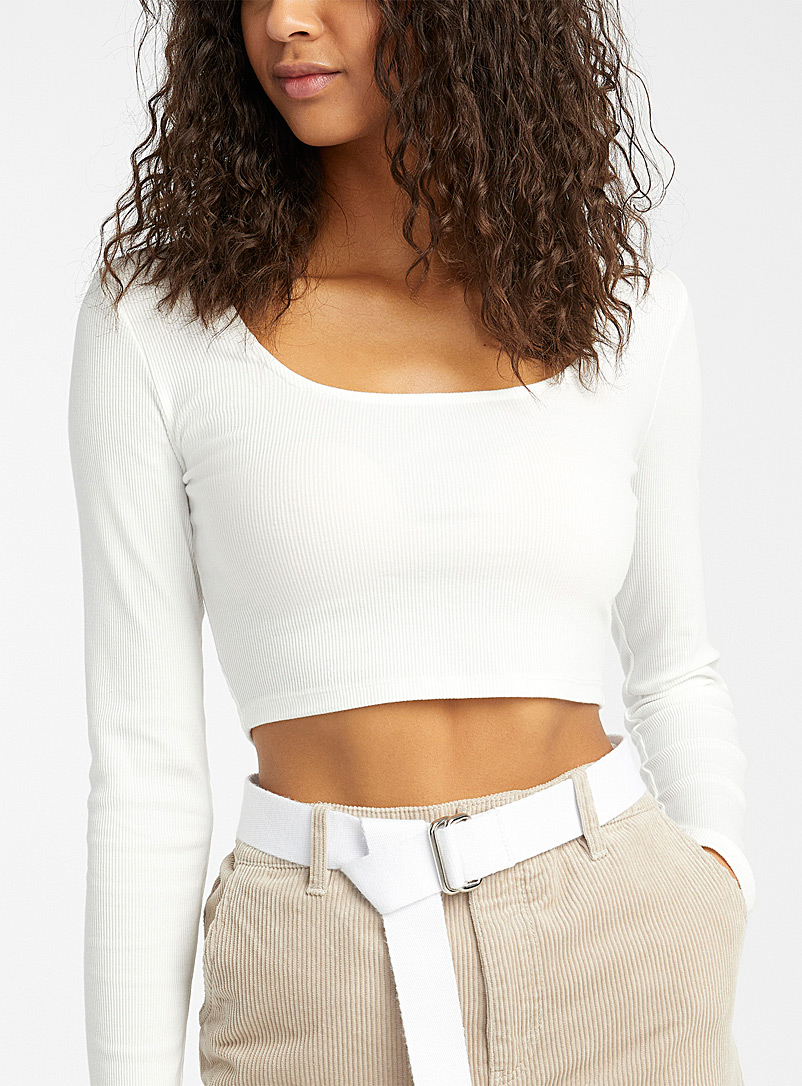 Organic cotton crew-neck cropped tee